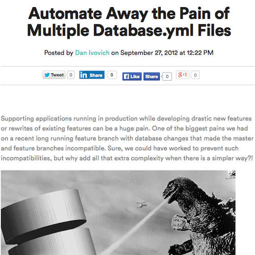 Automate Away the Pain of Multiple Database.yml Files Blog Post