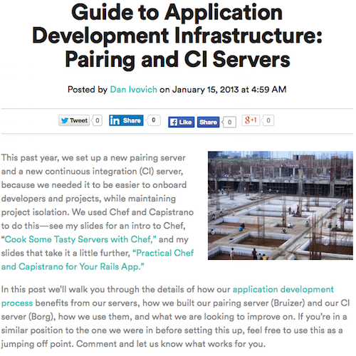 Guide to Application Development Infrastructure: Pairing and CI Servers Blog Post